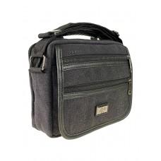 На фото 1 - Мужская сумка из брезентовой ткани, цвет графитовый