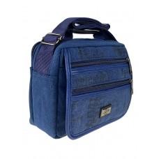 На фото 1 - Мужская сумка из брезентовой ткани, цвет джинсовый