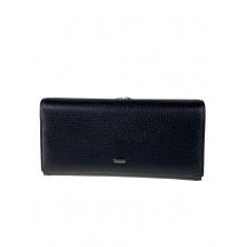 На фото 1 - Полноразмерное женское портмоне из натуральной кожи, чёрное