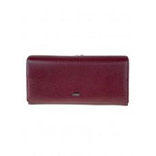 На фото 1 - Полноразмерное женское портмоне из натуральной кожи, бордовое