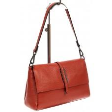 На фото 1 - Кожаная сумка-багет, цвет кирпичный