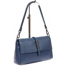 На фото 1 - Кожаная сумка-багет, цвет синий