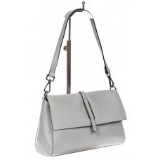 На фото 1 - Кожаная сумка багет, цвет серый