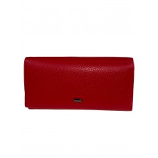 На фото 1 - Строгое женское портмоне из фактурной натуральной кожи, цвет красный