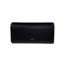 На фото 1 - Кошелёк-портмоне женский из фактурной натуральной кожи, цвет чёрный