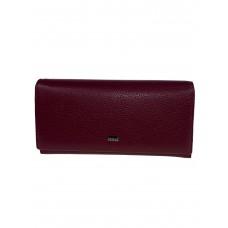 На фото 1 - Кошелёк-портмоне женский из фактурной натуральной кожи, цвет бордовый