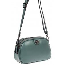 На фото 1 - Женская сумочка кросс-боди из натуральной кожи, цвет нежно-бирюзовый