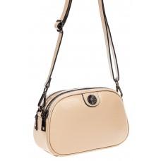 На фото 1 - Женская сумочка кросс-боди из натуральной кожи, цвет молочный