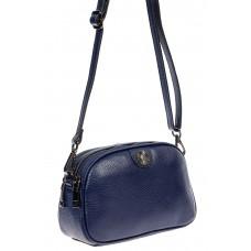 На фото 1 - Женская сумочка кросс-боди из натуральной кожи, цвет тёмно-синий