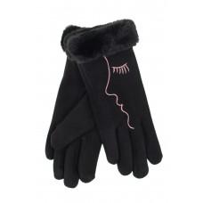 На фото 1 - Женские перчатки с искусственным мехом и дизайнерской вышивкой, цвет чёрный