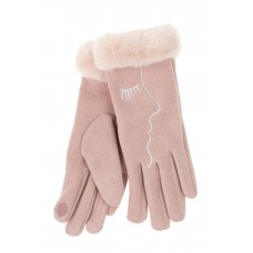На фото 1 - Женские перчатки с искусственным мехом и дизайнерской вышивкой , цвет розовый