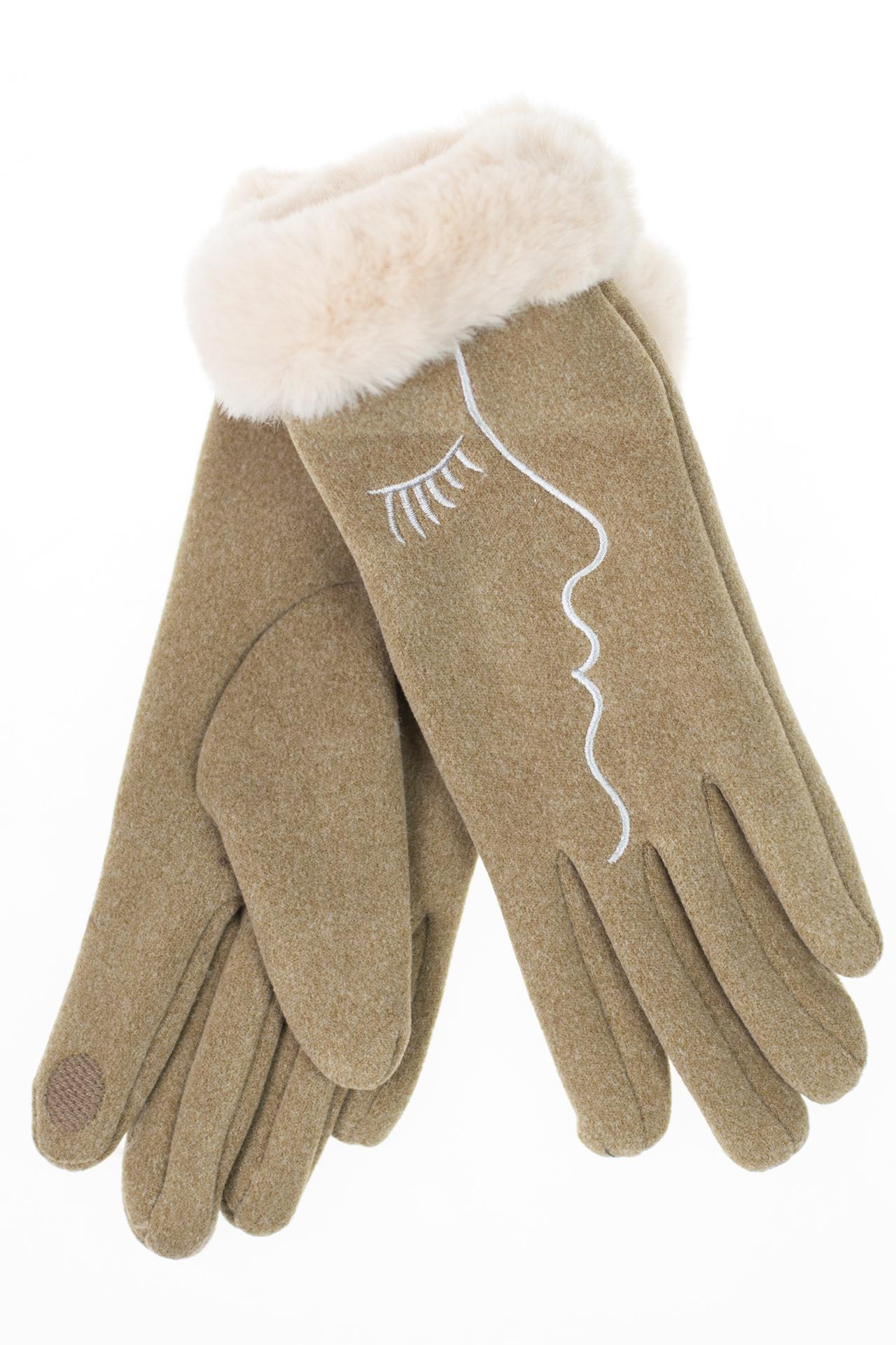На фото 1 - Женские перчатки с искусственным мехом и дизайнерской вышивкой , цвет серо-зеленый