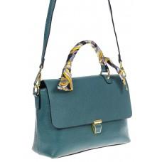 На фото 1 - Женская сумка-портфель из натуральной кожи, цвет серая бирюза