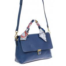 На фото 1 - Женская сумка-портфель из натуральной кожи, цвет синий