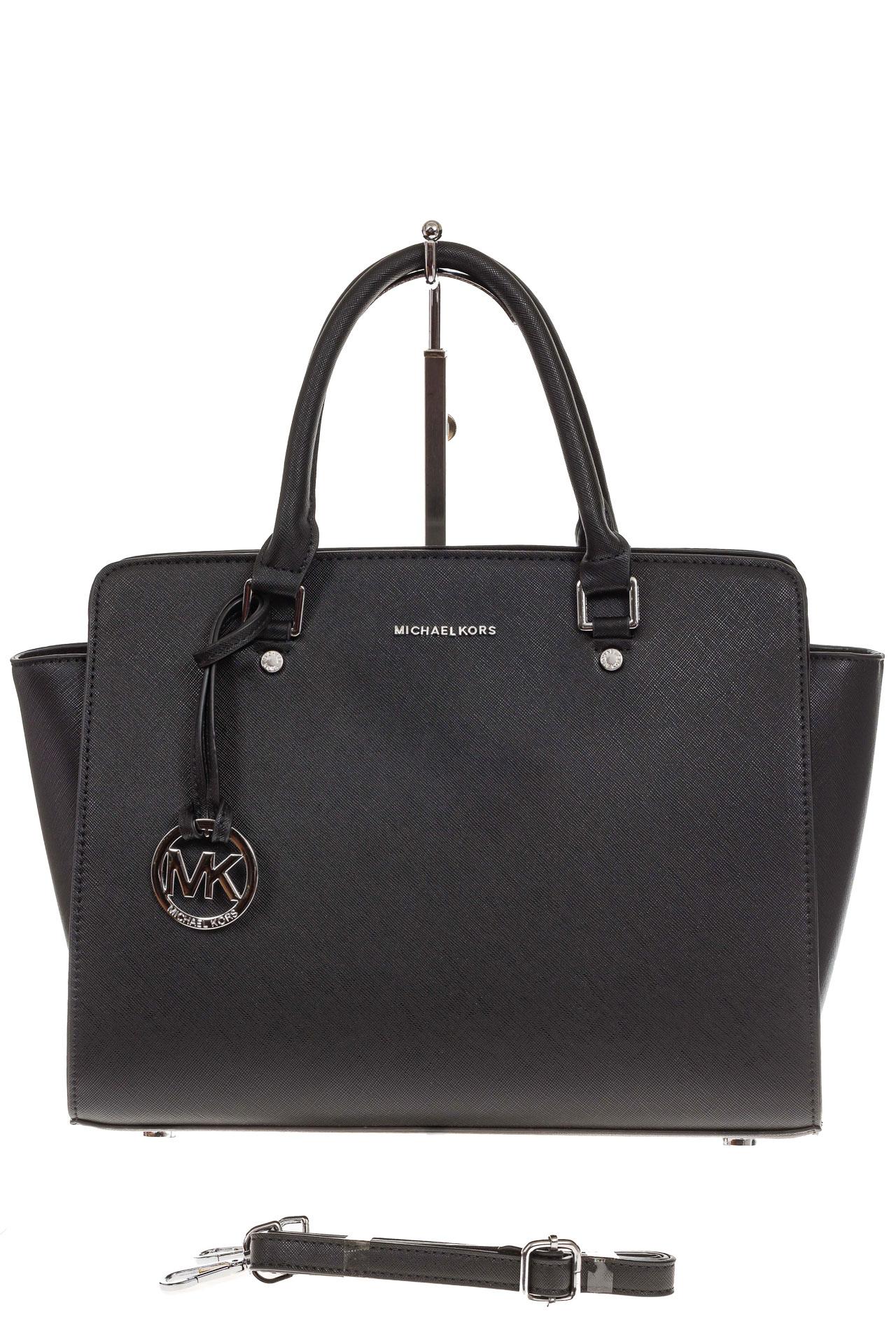 На фото 2 - Каркасная женская сумка из искусственной кожи, цвет черный