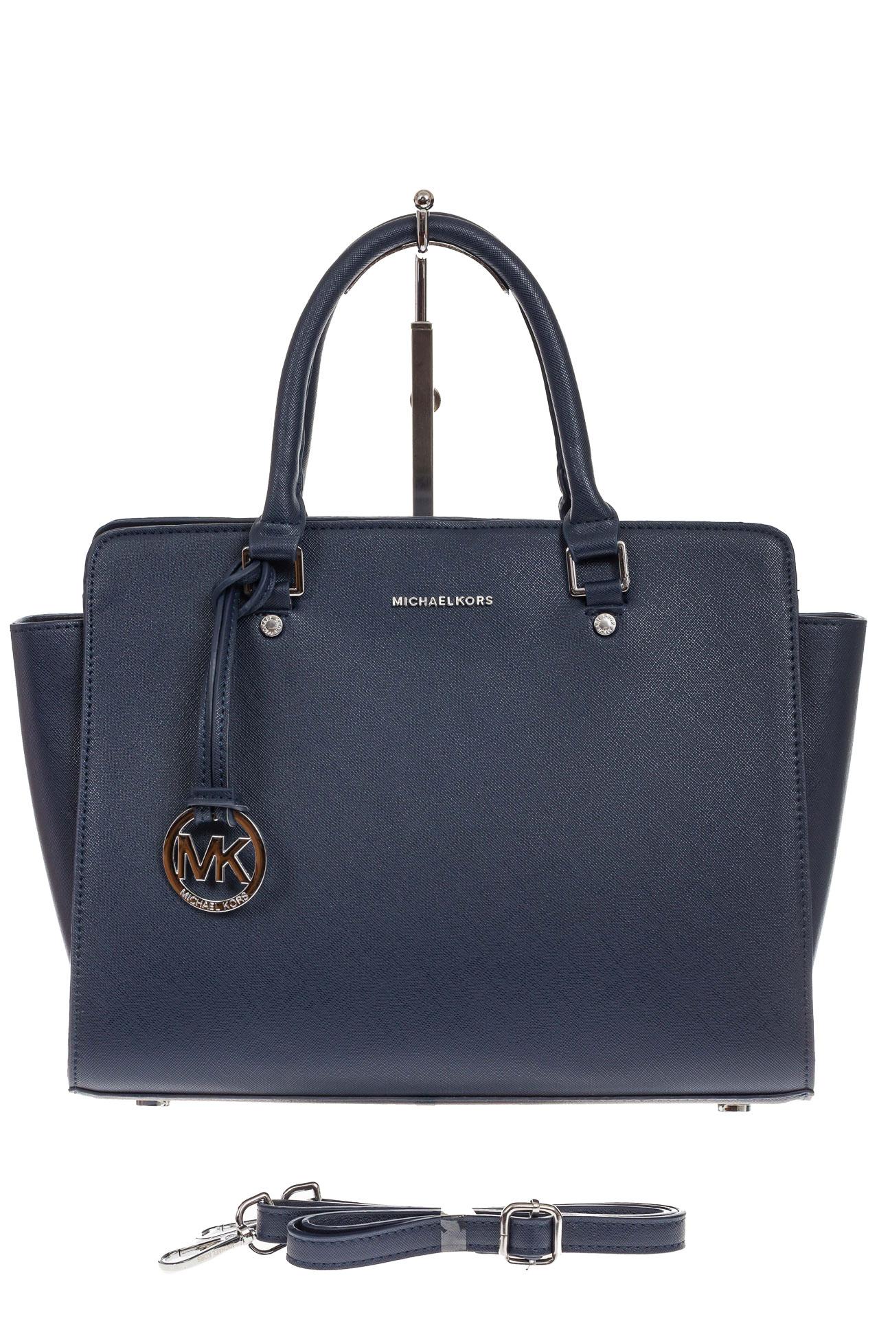На фото 2 - Каркасная женская сумка из искусственной кожи, цвет синий
