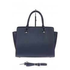На фото 3 - Каркасная женская сумка из искусственной кожи, цвет синий