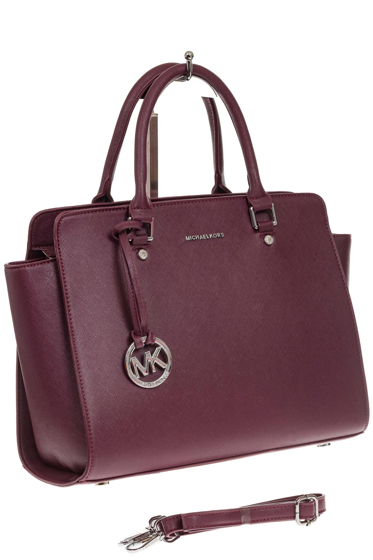 На фото 1 - Каркасная женская сумка из искусственной кожи, цвет бордо