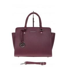 На фото 2 - Каркасная женская сумка из искусственной кожи, цвет бордо