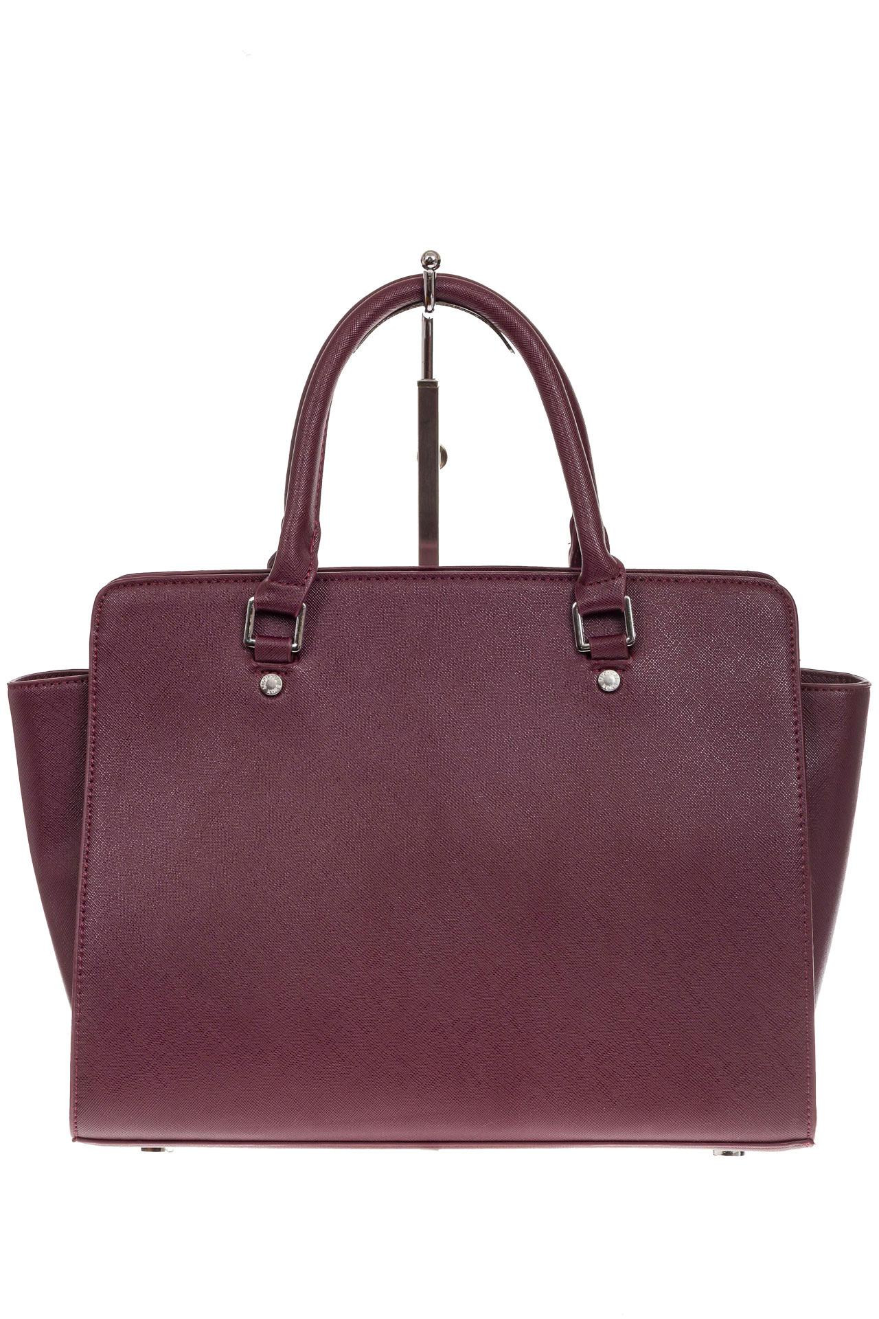 На фото 3 - Каркасная женская сумка из искусственной кожи, цвет бордо