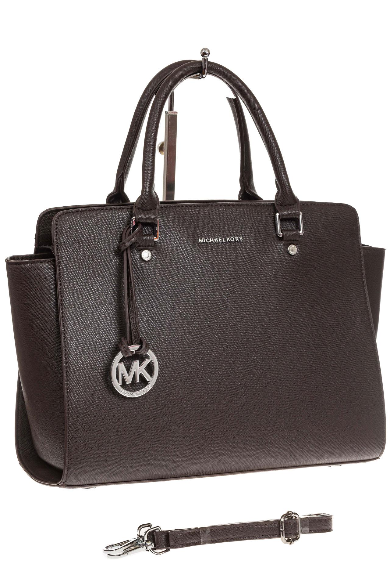 На фото 1 - Каркасная женская сумка из искусственной кожи, цвет кофе