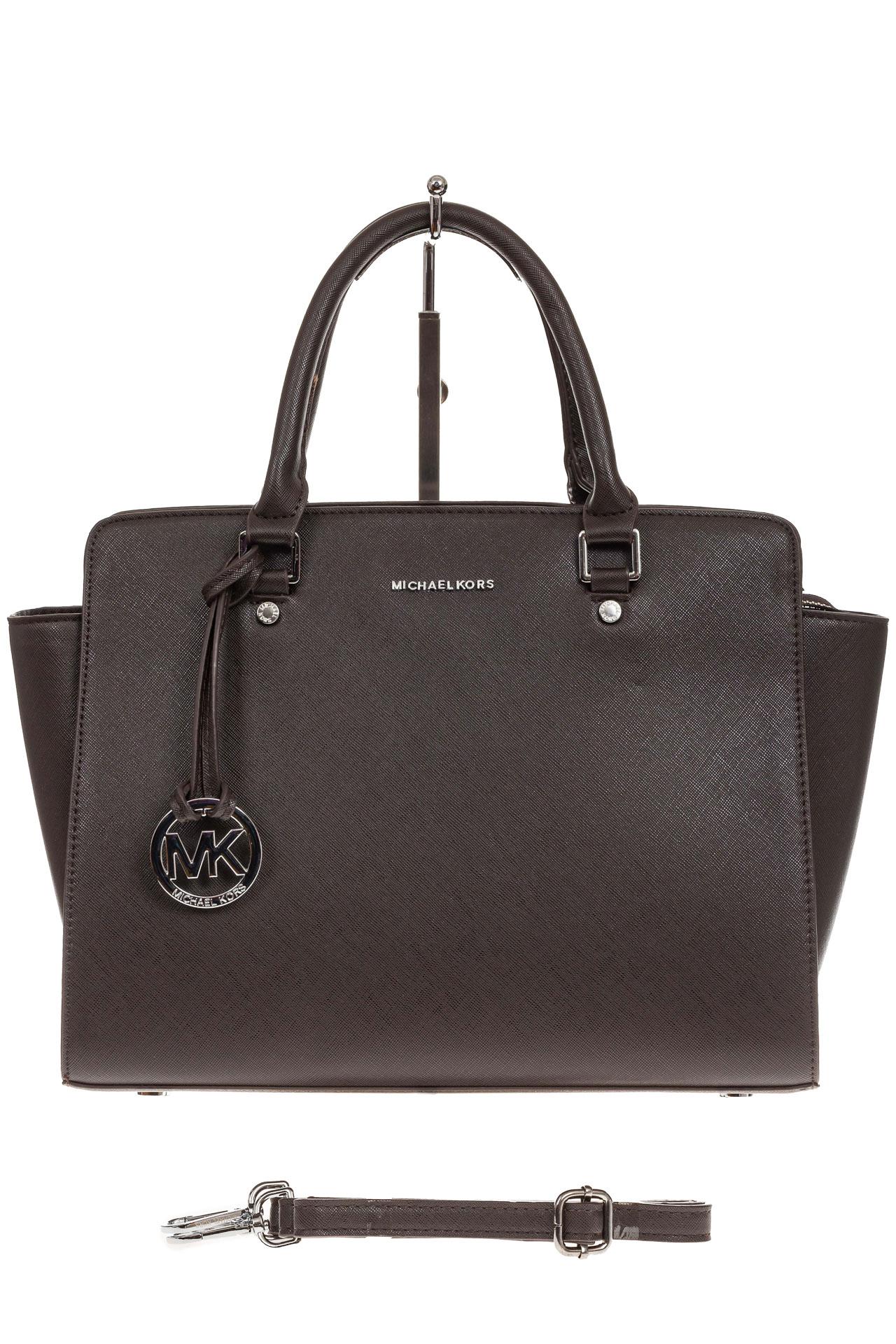 На фото 2 - Каркасная женская сумка из искусственной кожи, цвет кофе