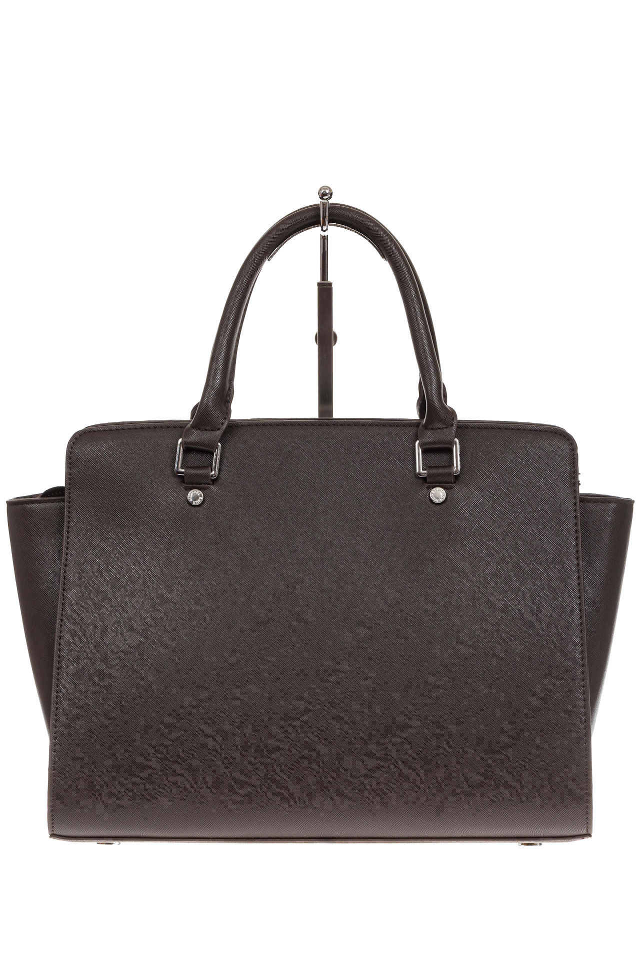 На фото 3 - Каркасная женская сумка из искусственной кожи, цвет кофе