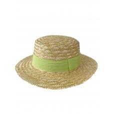 На фото 1 - Летняя женская шляпка из соломы с цветной лентой, цвет бежево-жёлтый