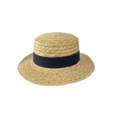 На фото 1 - Женская летняя шляпка из соломы с цветной лентой, цвет бежево-жёлтый