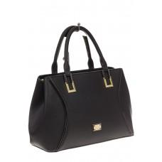 На фото 1 - Классическая женская сумка из искусственной кожи, цвет черный