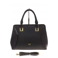 На фото 2 - Классическая женская сумка из искусственной кожи, цвет черный