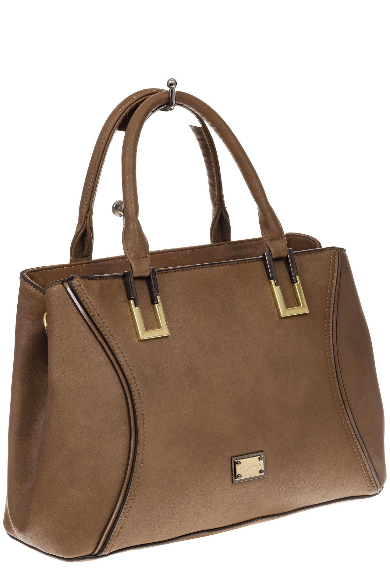 На фото 1 - Классическая женская сумка из искусственной кожи, цвет бежевый