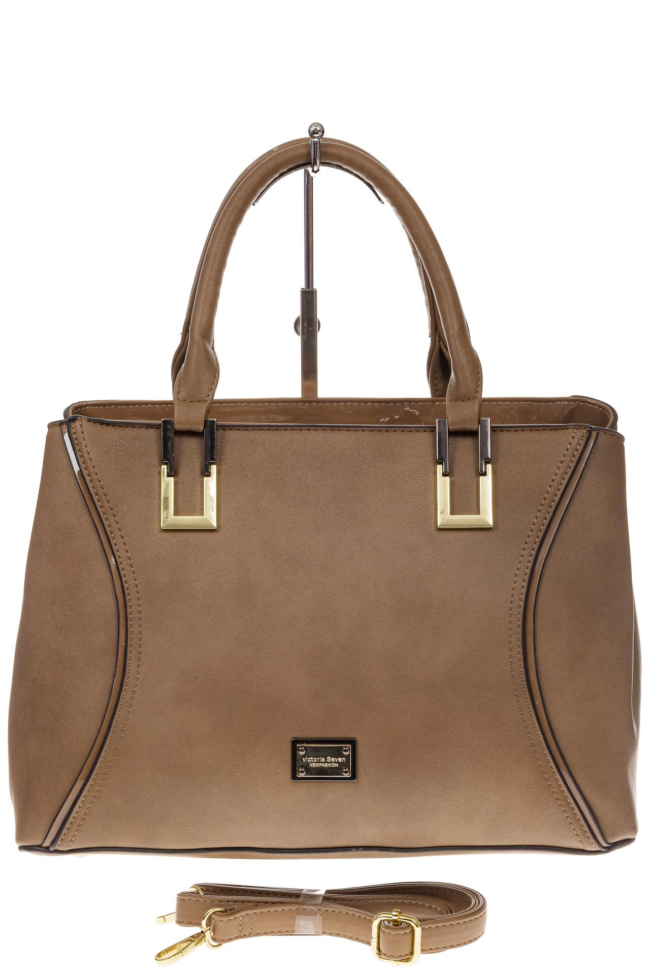 На фото 2 - Классическая женская сумка из искусственной кожи, цвет бежевый