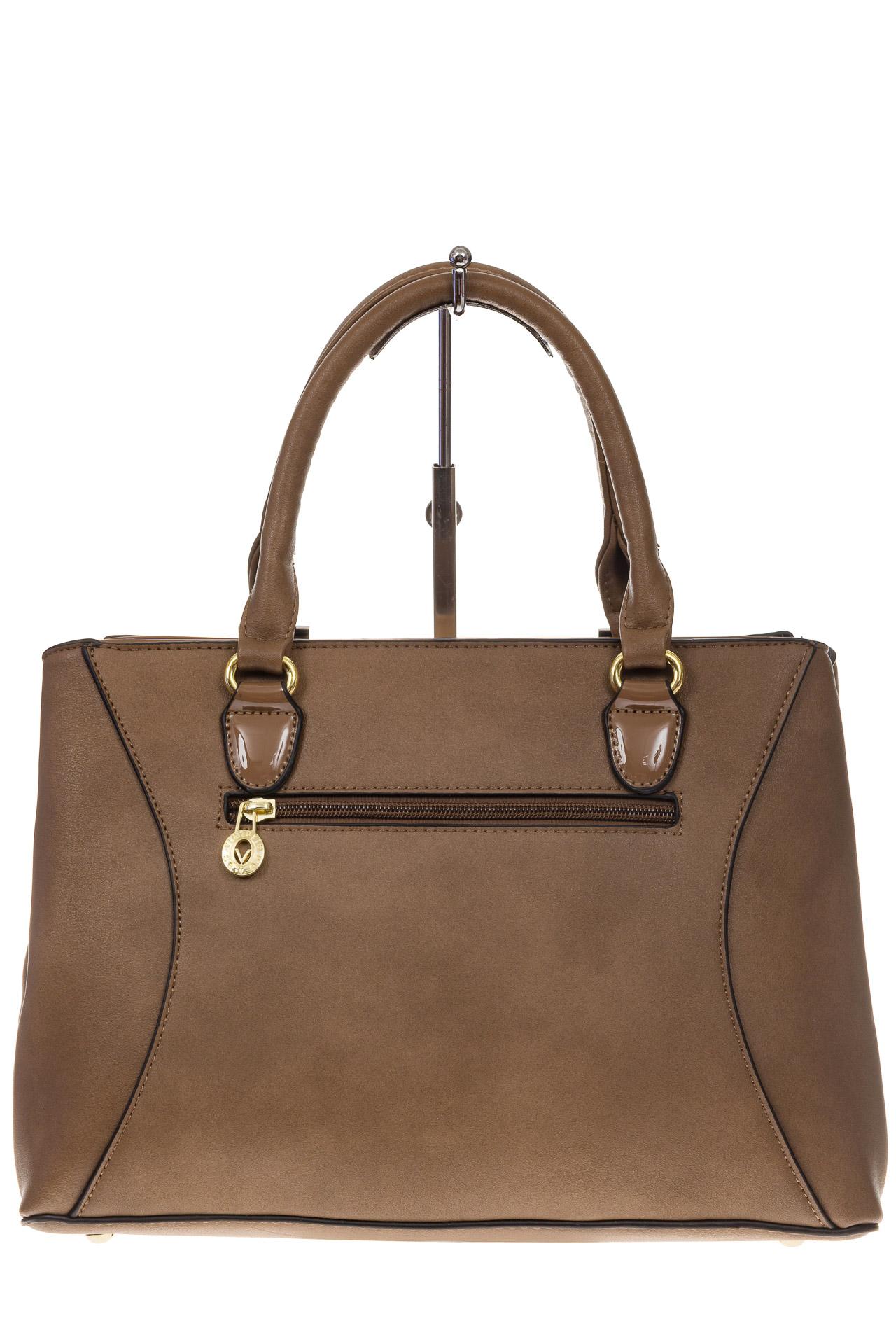 На фото 3 - Классическая женская сумка из искусственной кожи, цвет бежевый