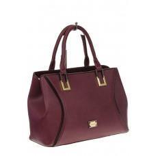 На фото 1 - Классическая женская сумка из искусственной кожи, цвет бордо