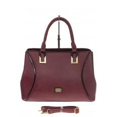 На фото 2 - Классическая женская сумка из искусственной кожи, цвет бордо