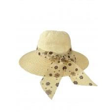 На фото 1 - Плетёная летняя шляпка с цветочным бантом, цвет молочный