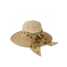На фото 1 - Плетёная летняя шляпка с цветочным бантом, цвет светло-коричневый