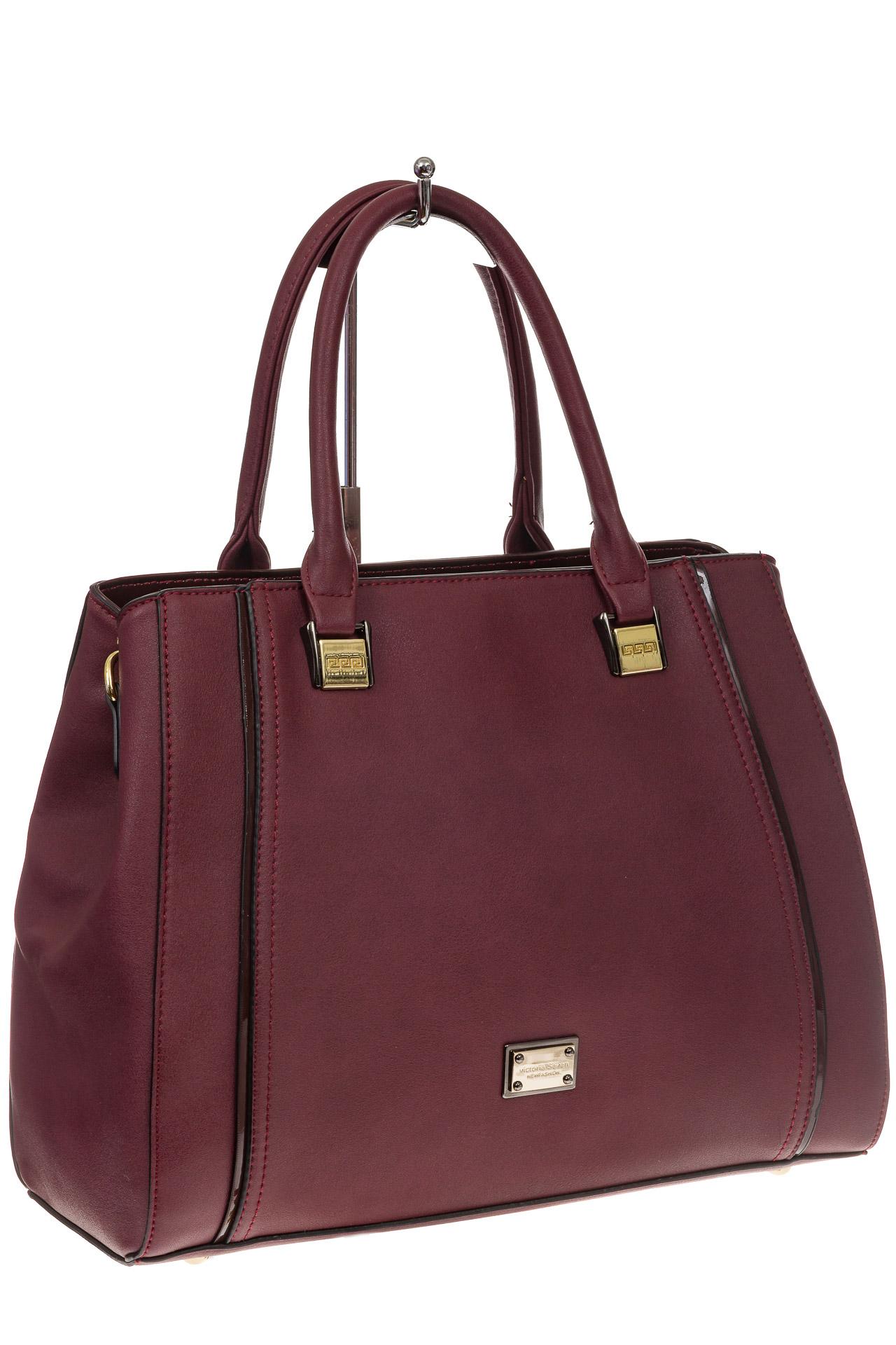 На фото 1 - Классическая сумка из искусственной кожи, цвет бордо