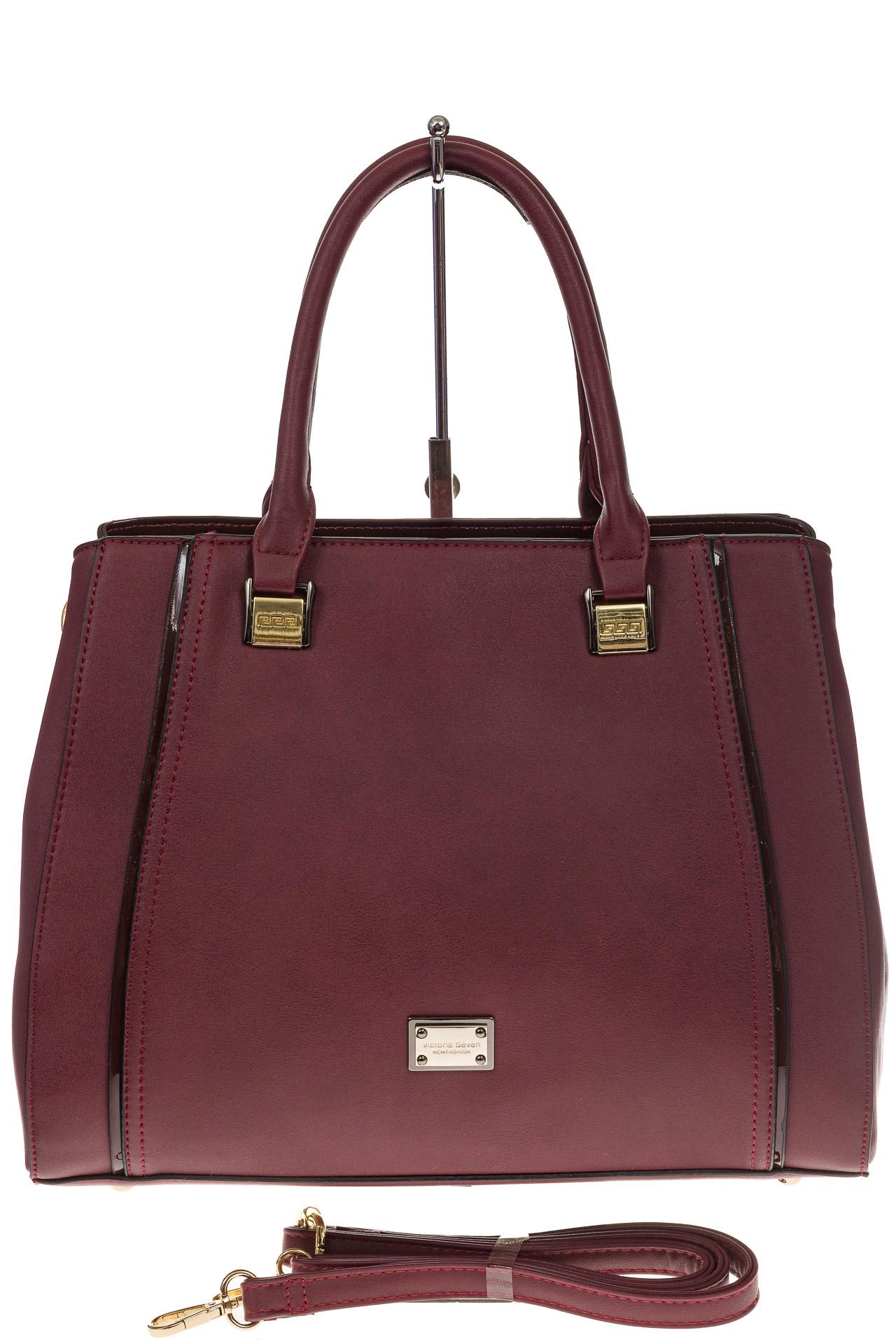 На фото 2 - Классическая сумка из искусственной кожи, цвет бордо