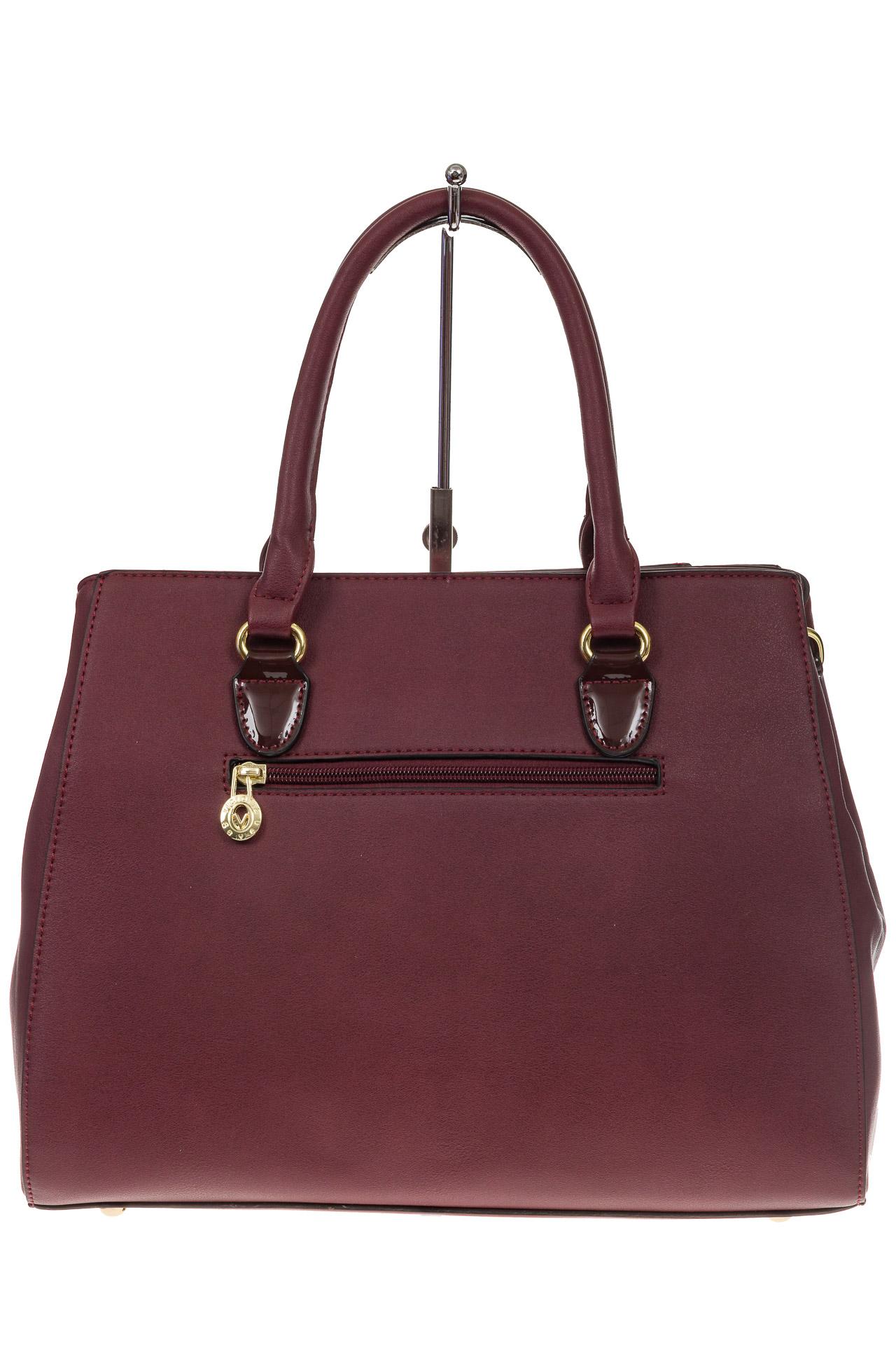 На фото 3 - Классическая сумка из искусственной кожи, цвет бордо
