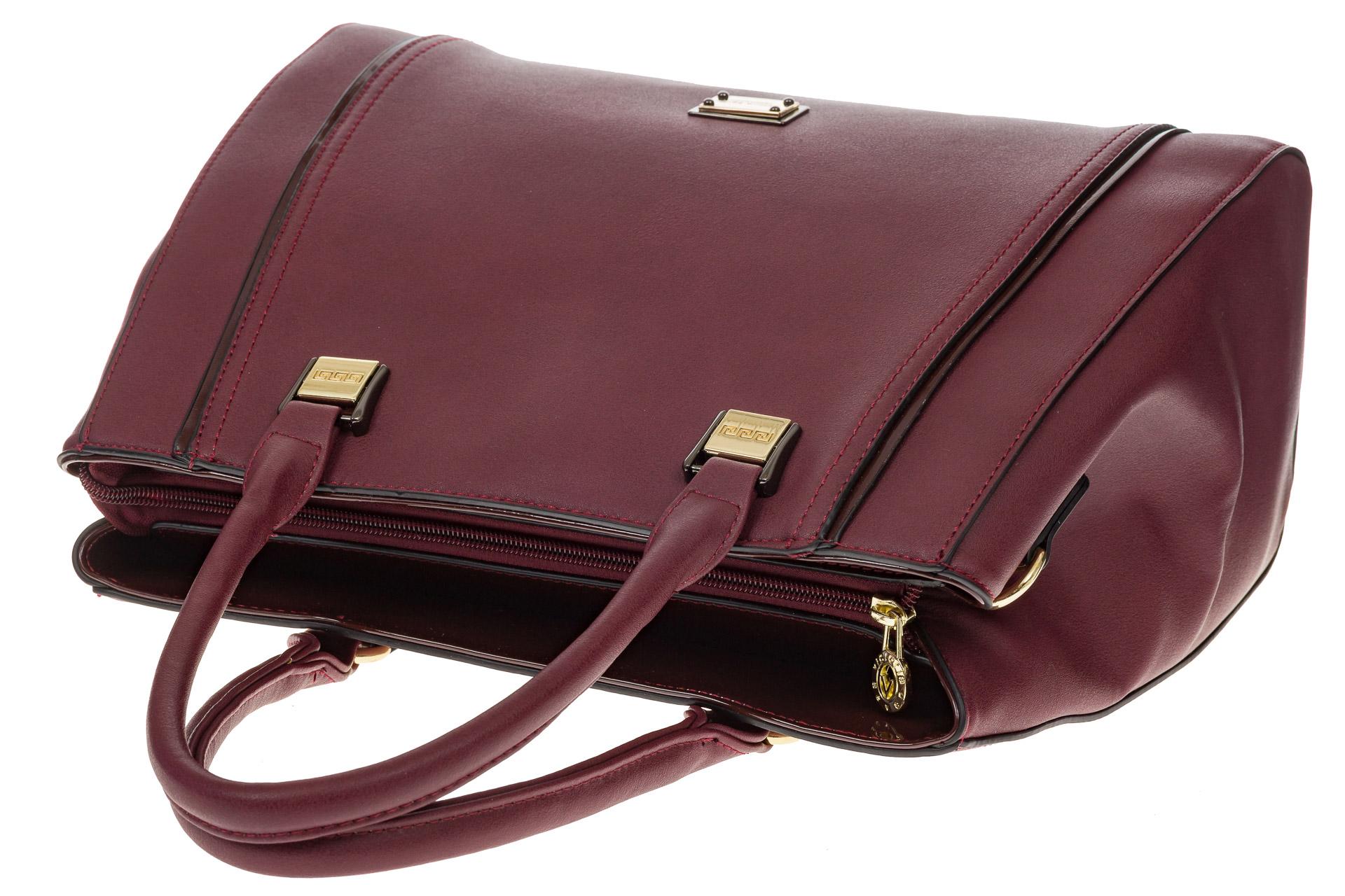 На фото 4 - Классическая сумка из искусственной кожи, цвет бордо