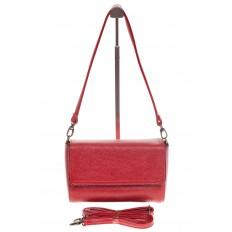 На фото 2 - Красная маленькая сумка из искусственной кожи