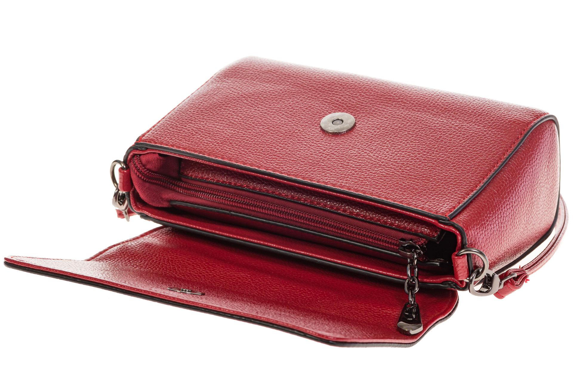 На фото 4 - Красная маленькая сумка из искусственной кожи