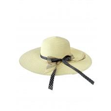 На фото 1 - Женская плетёная шляпа с бантом, цвет молочный