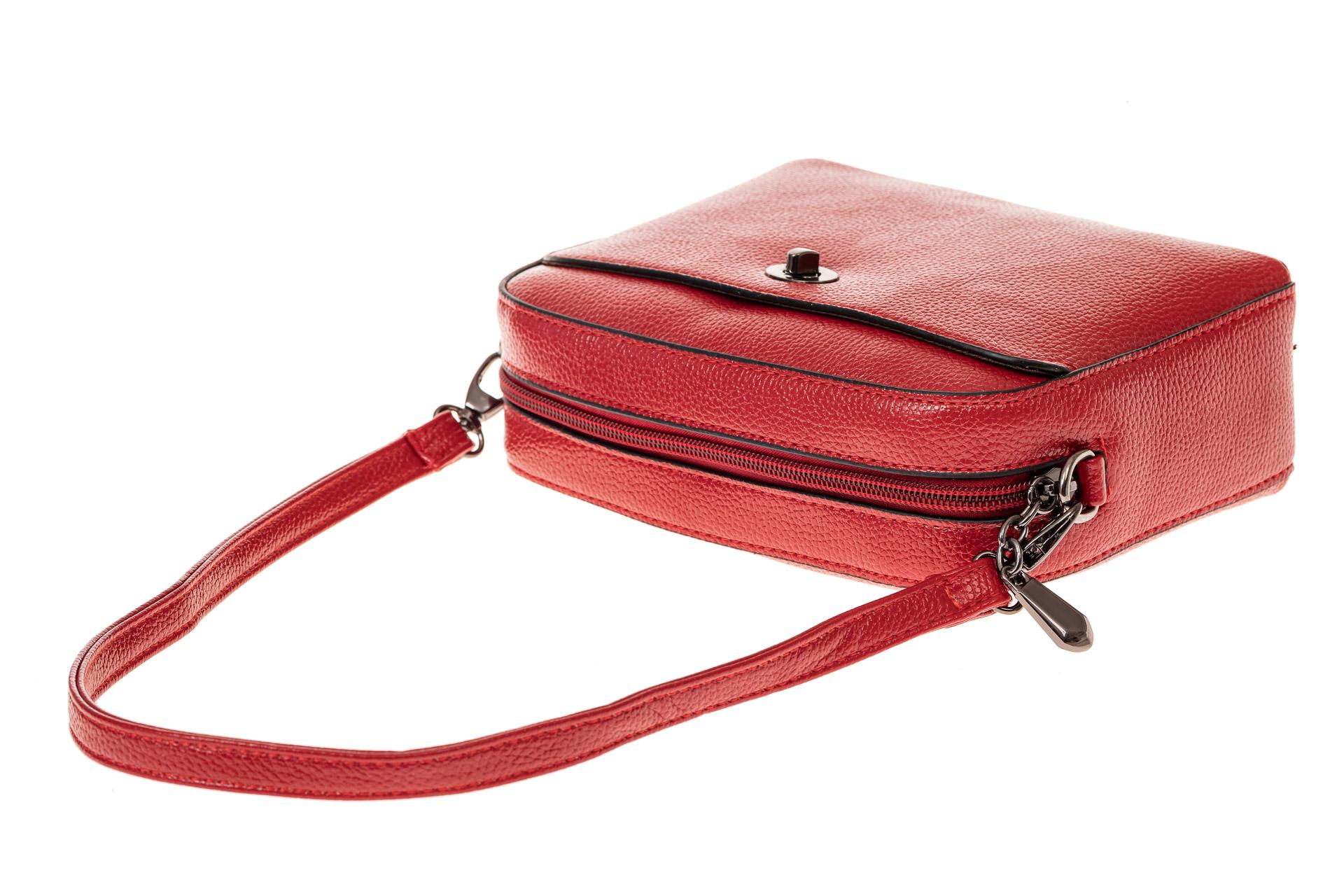 На фото 3 - Сумка кросс-боди из искусственной кожи, цвет красный