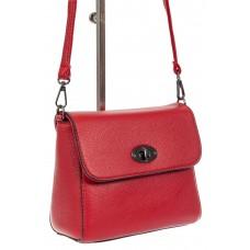 На фото 1 - Женская сумка кросс-боди из экокожи, красная