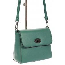 На фото 1 - Женская сумка кросс-боди из кожзама, зеленая