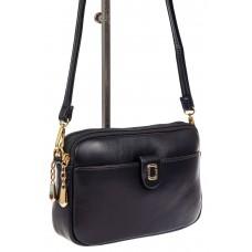 На фото 1 - Женская сумка кросс-боди из экокожи, цвет черный