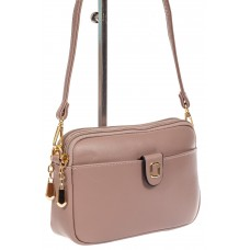 На фото 1 - Женская сумка кросс-боди из эко-кожи, цвет пудра